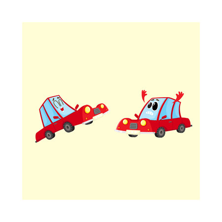 Two funny red car characters, one dismayed and despaired, another laughing happily, cartoon vector illustration isolated on white background. Couple of red car characters, mascots, laughing and sad