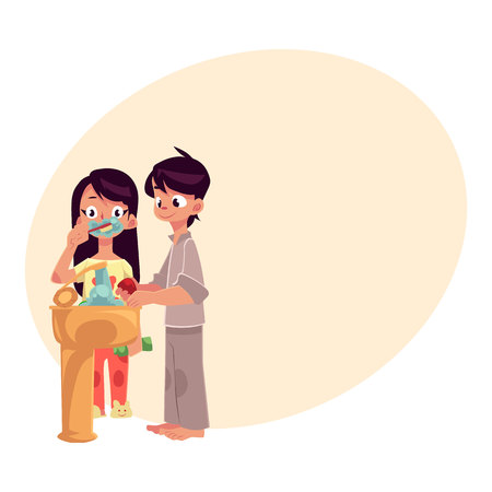 wash hand stand: Little boy and girl in pajamas washing hands, brushing teeth, cartoon vector illustration with place for text. Boy and girl washing hands and brushing teeth, morning, evening hygiene routine
