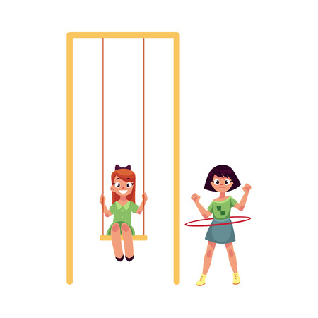 hula hoop: Two girls playing at playground, sitting on a swing and spinning hula hoop, cartoon vector illustration isolated on white background. Girl friends having fun at playground, summer activity concept