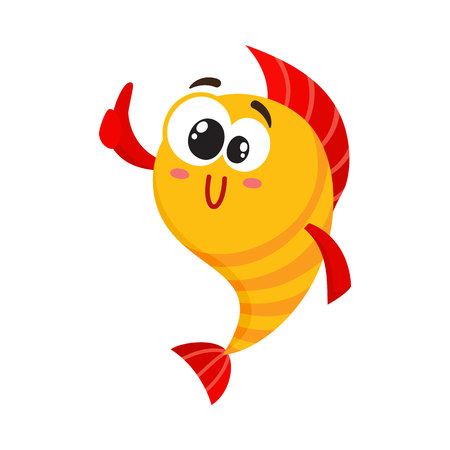 Cute, funny golden, yellow fish character with human face giving thumb up, cartoon vector illustration isolated on white background. Crazy yellow fish character, mascot showing okay sign