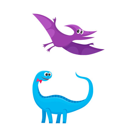 Two funny baby dinosaur characters - brontosaurus and pterodactyloidea, cartoon vector illustration isolated on white background. Happy smiling brontosaurus and pterodactyloidea dinosaur characters