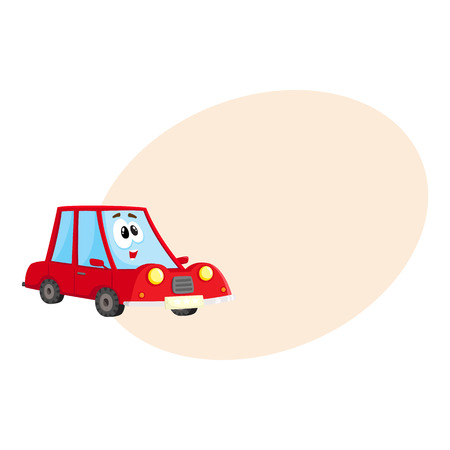 Cute and funny red car, auto character with human face, surprised, excited, curious, cartoon vector illustration with space for text. Funny red car character, mascot, awed and surprised