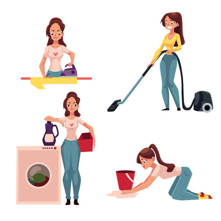 Young woman, housewife doing chores - ironing, washing, vacuum cleaning, mopping floors, cartoon vector illustration isolated on white background. Woman, girl cleaning her house, washing, ironing Illustration