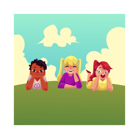 Three happy children lying on green grass under summer sky, colorful cartoon vector illustration. Kids, children, friends, black and white, lying on grass together, summer activity