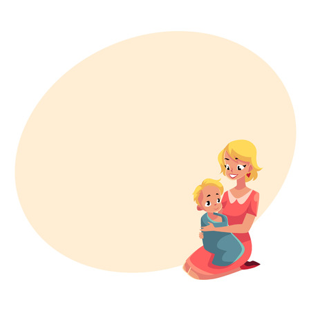 Young mother holding her baby wrapped in towel after bath, cartoon vector illustration with space for text. Pretty mother drying her baby after bath, child care, family relationships concept