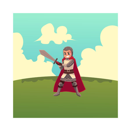 Medieval knight child, sword bearer, squire in chain armor, cartoon vector illustration isolated on white background. Full length portrait of child armor bearer stands on green grass under summer sky