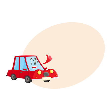 Cute and funny red car, auto character showing thumb up, happy and delighted, cartoon vector illustration with space for text. Funny red car character, mascot giving thumb up