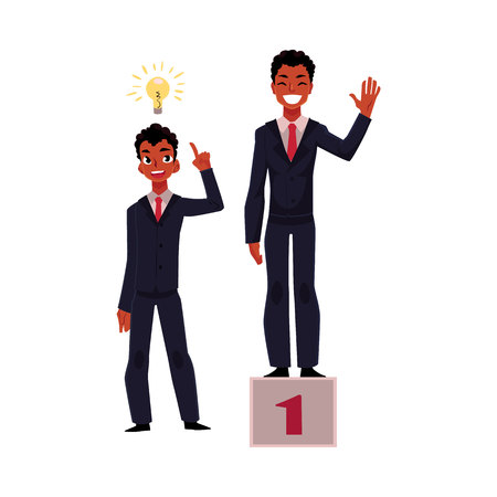 Black, African American businessman, manager has insight, gets idea, achieves and celebrates success, cartoon vector illustration isolated on white background. Black businessman, idea and success Ilustração