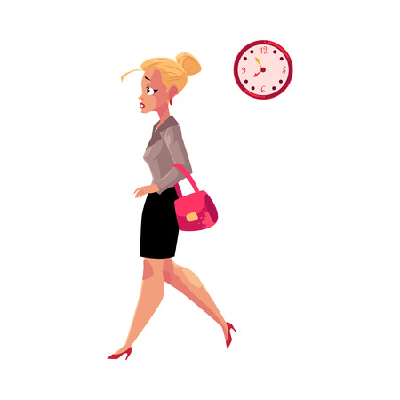 Young blond businesswoman hurrying, being late to work, feeling nervous, cartoon vector illustration isolated on white background. Businesswoman, business woman hurrying to work in the morning time Illustration