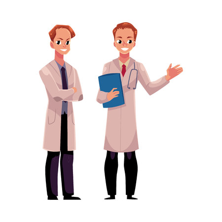 Two male doctors in medical coats, one holding stethoscope and folder, another with folded arms, cartoon vector illustration isolated on white background. Full length portrait of two male, man doctors