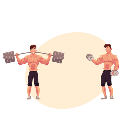 Young man, male bodybuilder, weightlifter working out, training with barbell and dumbbell, cartoon vector illustration with space for text. Male bodybuilder with barbell and dumbbells Illustration