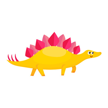 Cute and funny smiling baby stegosaurus, dinosaur, cartoon vector illustration isolated on white background. Funny, happy stegosaurus dinosaur character, decoration element