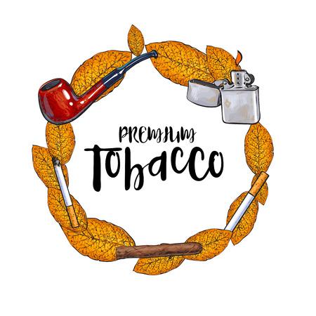 ラウンド フレーム禁煙パイプ、ライター、葉巻、タバコ、タバコの葉、白い背景で隔離のスケッチ ベクトル図。手描きのテキスト属性を喫煙のラウ