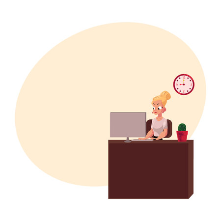 Young pretty blond businesswoman, secretary, office manager working on computer, cartoon vector illustration with space for text. Businesswoman, secretary, office manager working on computer