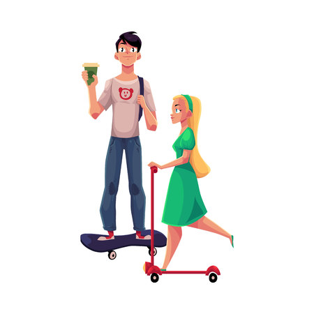 Girl, woman riding push noun and boy, man standing on skateboard, personal urban transport, cartoon vector illustration isolated on white background. Girl riding kick noun, man on skateboard