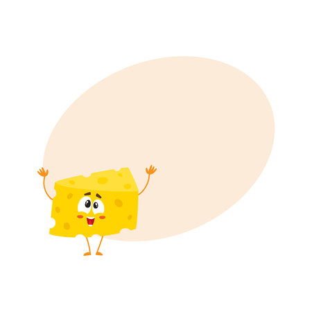 Cute and funny cheese chunk character greeting, welcoming with hands raised up, cartoon vector illustration with space for text. Funny greeting cheese piece character, mascot with human face