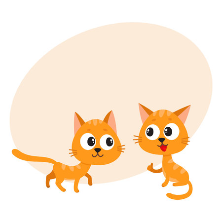 Two cute and funny, naughty, playful red cat characters playing together, cartoon vector illustration with space for text. Couple of curious, mischievous, naughty red cat characters