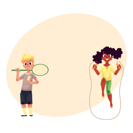 Black African girl and Caucasian boy playing with jumping rope and badminton racket at playground, cartoon vector illustration with space for text. Friends having fun at the playground