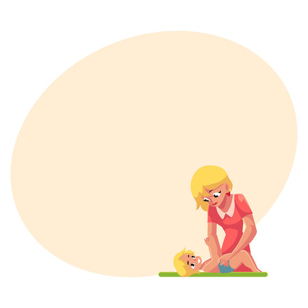 Young mother changing her babys diaper, nappy, cartoon vector illustration with space for text. Blond mother changing diape, nappy for her baby, child care concept