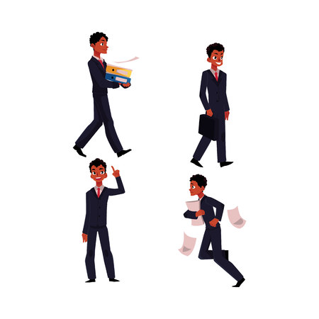 hurrying: Black, African American businessman in business situations, going to work, stressed, hurrying, pointing up, cartoon illustration. Black businessman at work Illustration