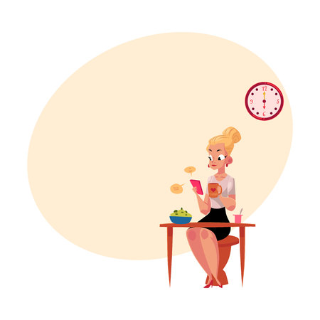 Young blonde businesswoman using smartphone, having breakfast, drinking coffee before going to work, cartoon illustration with space for text. Work day of businesswoman, business woman