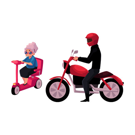 Young man riding motorcycle and old woman driving modern scooter, personal urban transport concept, cartoon illustration. Motorcycle and scooter riders, drivers Illustration
