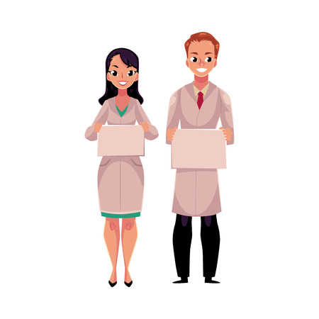 Male and female doctors in white medical coats holding blank board, sign for text, cartoon illustration. Full length portrait of two doctors with blank boards