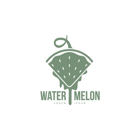 monochrome logo template with side view of stylized triangular watermelon slice pointing down, illustration. logo design with watermelon slice