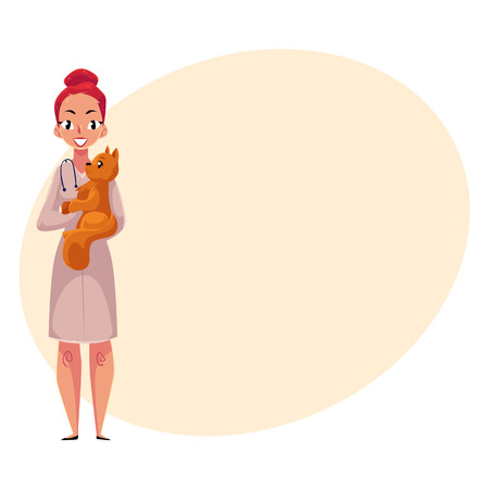 Young woman, female veterinarian, vet in white medical coat holding fluffy cat, cartoon illustration with space for text. Female, woman veterinarian, vet holding a cat