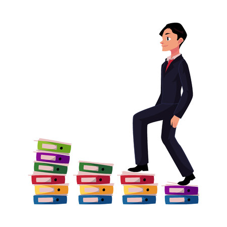 Young businessman climbing piles of documents, career ladder concept, cartoon illustration. Document folders like corporate ladder, businessman making career