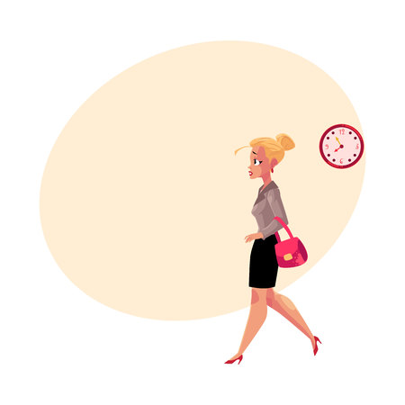 hurrying: Young blonde businesswoman hurrying, being late to work, feeling nervous, cartoon illustration with space for text. Businesswoman, business woman hurrying to work in the morning time