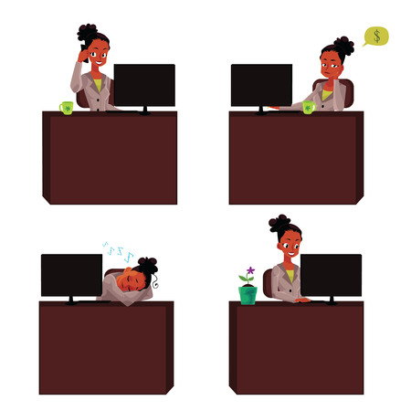 looking at computer screen: Black, African American businesswoman at office desk, working on laptop, talking by phone, napping, cartoon illustration. Black, African businesswoman at office