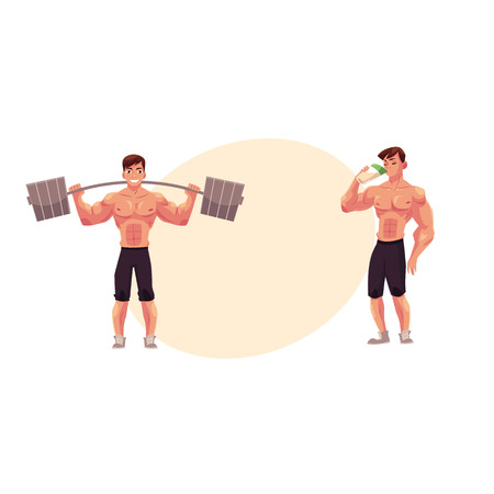 Male bodybuilder working out with barbell and drinking protein shake after training, cartoon illustration with space for text. Illustration