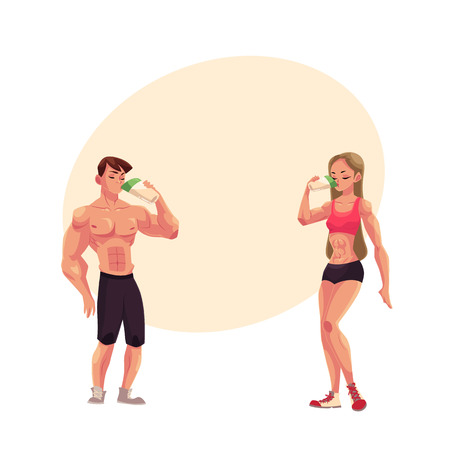Male and female bodybuilders, weightlifters drinking protein shake after training, cartoon illustration with space for text. Full length portrait of man and woman drinking protein