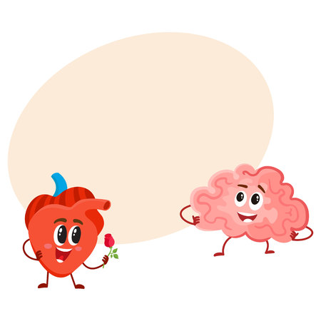 Cute and funny human heart and brain characters, logic versus feelings concept, cartoon vector illustration with space for text. Healthy brain and heart characters, human internal organs