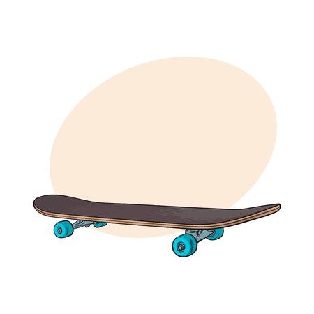 Skateboard di stile nero degli anni '90, schizzo, illustrazione disegnata a mano con spazio per il testo. Skateboard vista laterale disegnato a mano, mezzi urbani di trasporto, trasporto personale stile anni 90