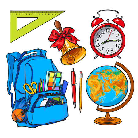 Backpack packed with school items, supplies, stationary, alarm clock, globe and bell, sketch vector illustration isolated on white background. Set of school items - school bag, globe, clock, bell