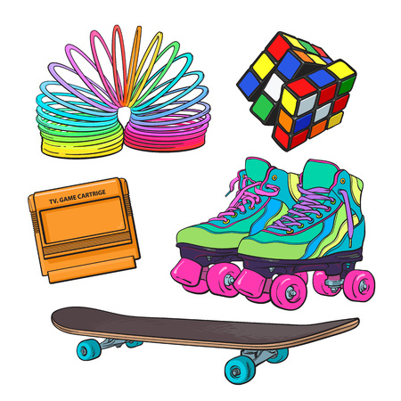 Set of retro pop culture items from 90s - skates, skateboard, TV game cartridge, spring and cube puzzle toys, sketch illustration isolated on white background. Hand drawn set of 90s, retro items