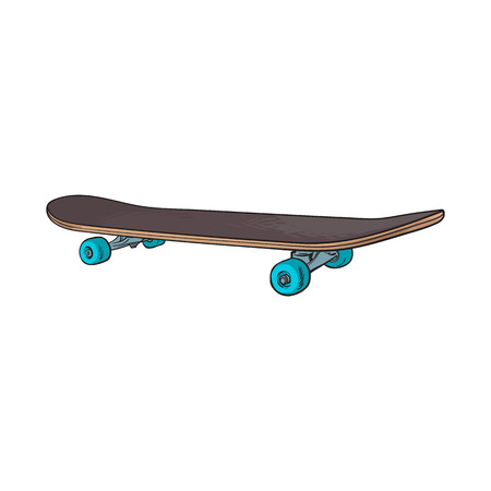 Black 90s style skateboard, sketch, hand drawn illustration isolated on white background. Hand drawn side view skateboard, urban means of transportation, 90s style personal transport Vectores
