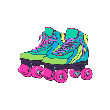 Pair of vintage, retro quad roller skates, sketch style, hand drawn illustration isolated on white background. Realistic hand drawn, sketch style pair of colorful quad roller skates with pink laces