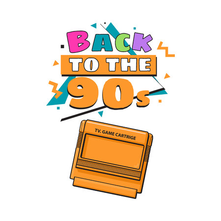 Memphis retro style back to the 90s poster template with TV game cartridge on white background. Back to the 90s party invitation, poster, banner design with geometric details and TV game cartridge Imagens - 76190774