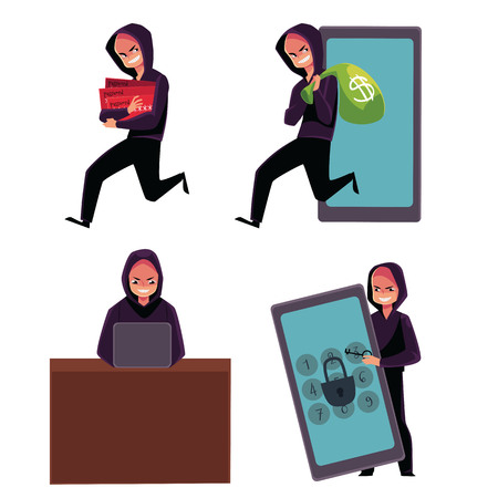 Hacker using laptop, stealing credit card information, money, identity, breaking PIN code, cartoon vector illustration isolated on white background. Computer hacker stealing, breaking, attacking