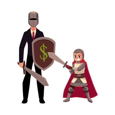 Businessman as knight with helmet, sword, shield, and his armor bearer, squire, cartoon vector illustration isolated on white background. Modern knight in business suit and helmet with armor bearer Иллюстрация