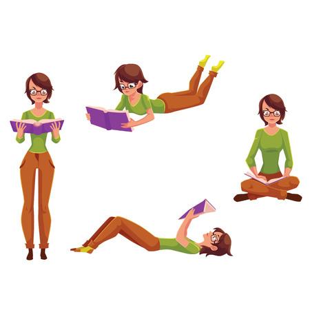 Bastante joven leyendo en diferentes posiciones de pie, sentado, acostado, ilustración vectorial de dibujos animados aislado sobre fondo blanco. Conjunto de niña, mujer leyendo en pie, sentado, acostado posición