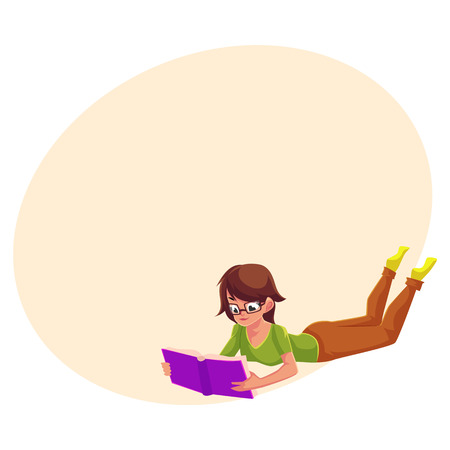 Full length portrait of girl, woman in glasses reading book while lying on her stomach, cartoon vector illustration with space for text. Girl, woman in glasses reading in lying position Illustration