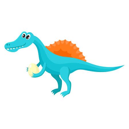 Cute and funny smiling baby spinosaurus, dinosaur, cartoon vector illustration. Illustration