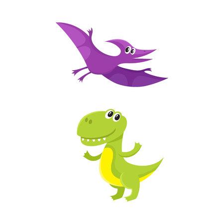 Two funny baby dinosaur characters - tyrannosaurus and pterodactyloidea. Illustration