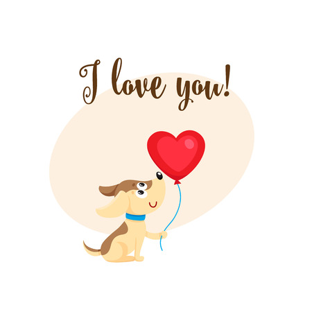 I love you greeting card, banner template with funny dog, puppy holding red heart shaped. Illustration