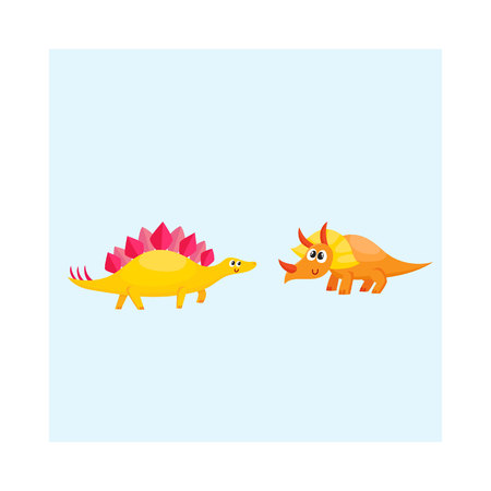 Two cute and funny baby dinosaur characters - stegosaurus and triceratops.