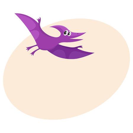 Cute and funny smiling baby pterodactyloidea, flying dinosaur, cartoon vector.
